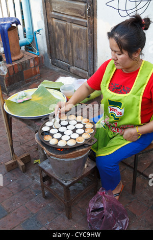 Sale of Food on the Street in Luang Prabang, Laos - Stock Photo