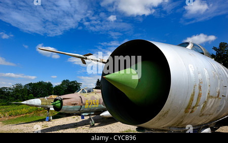 MIG fighters collection at Savigny les Beaune castle, burgundy, France. - Stock Photo