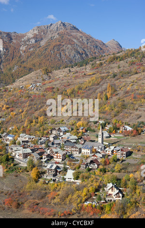 PUY-SAINT-ANDRE (aerial view). Small village above Briancon with striking fall colors. Hautes-Alpes, Durance Valley, - Stock Photo