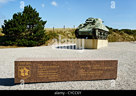 Memorial of the french 2nd armored Division at Utah beach, Normandy, France. - Stock Photo