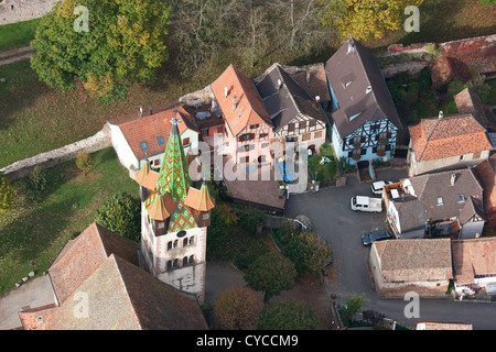 STEEPLE & HALF-TIMBERED HOUSES (aerial view). Saint-Georges church in the Alsatian village of Châtenois. Bas-Rhin, - Stock Photo