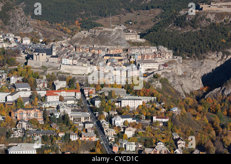 BRIANCON The citadel built by Vauban (a UNESCO site) seen from a high vantage point. Hautes-Alpes, France. - Stock Photo