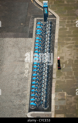 City The Monument Fire of London Boris Barclays bikes bike cycle bicycle rank from viewing platform above - Stock Photo