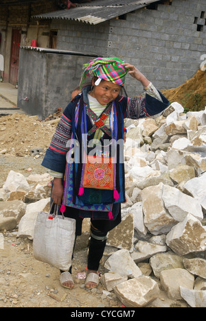 Vietnam, Sapa Market, Black Hmong woman in traditional dress - Stock Photo