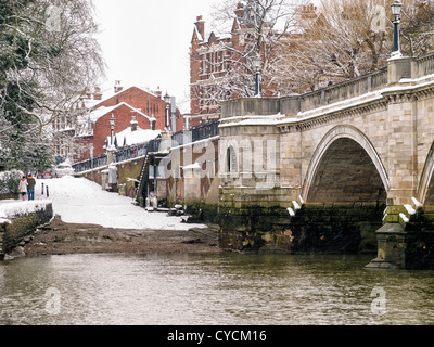 View of Historic old Richmond bridge across the river Thames in winter - Richmond upon Thames<Surrey,UK - Stock Photo
