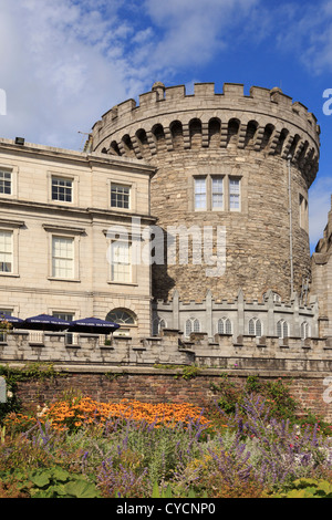 13th century Record Tower is only remaining part of original medieval Norman castle, now Garda museum in Dublin - Stock Photo