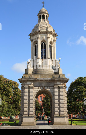 The Campanile or bell tower in Parliament Square in Trinity College University of Dublin campus, College Green Dublin - Stock Photo