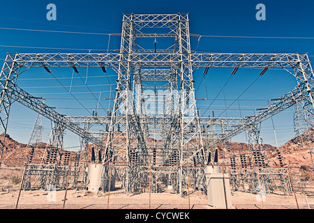 Electricity Pylon in Hoover Dam, Nevada, USA - Stock Photo