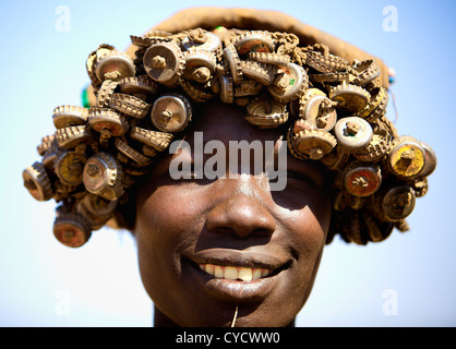 Hat made out of bottle caps. - Stock Photo