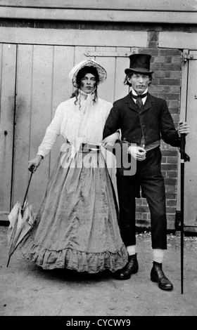 Cross dressing man, wearing womans clothes Village fete 'Lord and Lady'. circa 1900s - Stock Photo