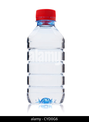 Soda water small bottle. Isolated on white background - Stock Photo