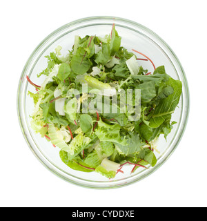Healthy green salad. Above view. Isolated on white background - Stock Photo