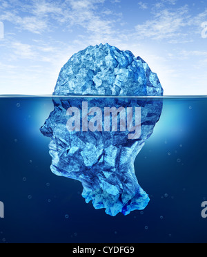 Human brain risks with an iceberg in the shape of a head partialy submerged in the cold arctic ocean as a health - Stock Photo