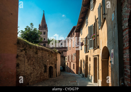 Europe Italy Piedmont Province of Cuneo Saluzzo View with church of S. Giovanni - Stock Photo
