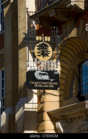 Cedar Court Grand Hotel and Spa sign York North Yorkshire England UK United Kingdom GB Great Britain - Stock Photo