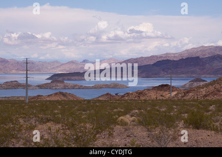 Lake Mead - the largest reservoir in the United States, formed by water impounded by the Hoover Dam, at 112 miles - Stock Photo
