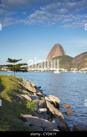 Botafogo Bay and Sugar Loaf Mountain (Pao de Acucar), Rio de Janeiro, Brazil - Stock Photo