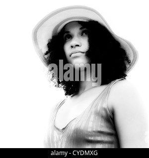 portrait of a beautiful woman in black and white - Stock Photo
