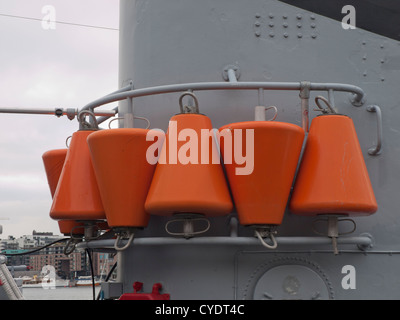 The Norwegian royal navy ship KNM Alta a minesweeper now museum ship moored in Oslo harbour detail of buoys - Stock Photo