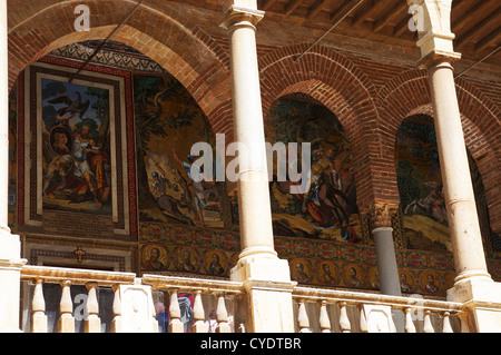Decrated walls in the gallery of the Palace of Normans in Palermo,Sicily - Stock Photo