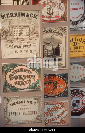 Labels for cloth woven at 19th-century textile mills, displayed in Lowell, Massachusetts. Photograph - Stock Photo