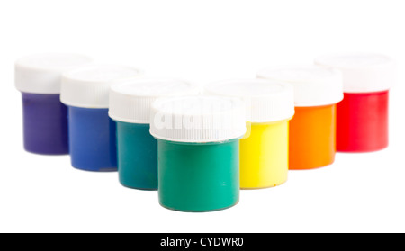 Closeup view colorful cans with gouache with rainbow colors - Stock Photo