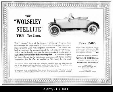 Original 1920s vintage print advertisement from English magazine advertising Wolseley Stellite 10 two seater car - Stock Photo