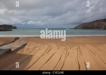 Spain, Basque Country Region, Vizcaya Province, Gorliz, beachfront - Stock Photo