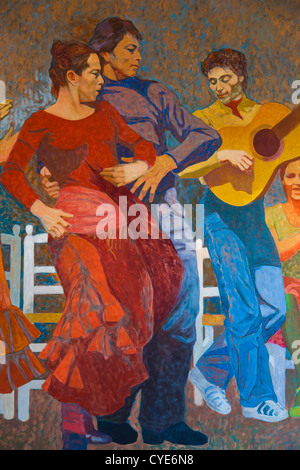 Spain, Andalucia Region, Seville Province, Seville, Museo Flamenco museum, Flamenco-themed painting - Stock Photo