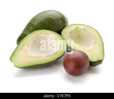 Ripe avocado. Isolated on white background - Stock Photo