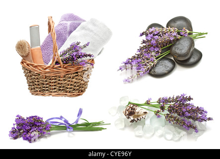 Spa set with a lavender on a white background - Stock Photo