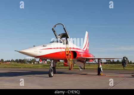 Northrop F-5E Tiger II fighter of the Patrouille Suisse aerobatic team. - Stock Photo