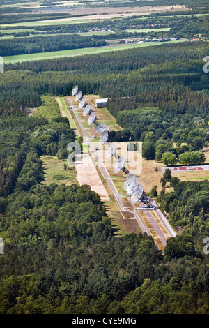 The Netherlands, Westerbork, Synthesis Radio Telescopes. Aerial. - Stock Photo