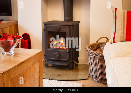 Cozy modern interior living room with wood burner - Stock Photo