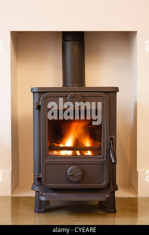 Cast iron wood burning stove in a modern contemporary fireplace - Stock Photo