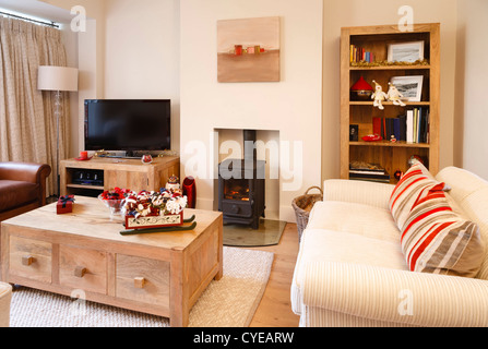 Contemporary interior design living room with christmas ornaments. Photographers own artwork on wall and bookcase. - Stock Photo