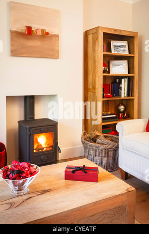 Modern cozy living room with neutral colors, wooden furniture and wood burning stove. - Stock Photo