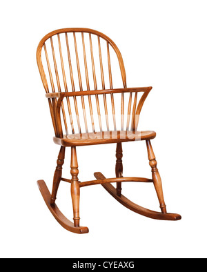 Wooden rocking chair isolated against a white background with clipping path - Stock Photo