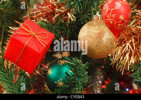 Detail of Christmas tree with different decorations - Stock Photo