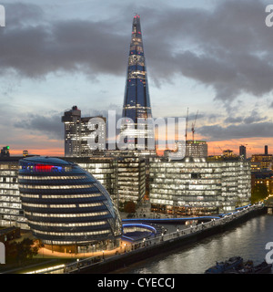 London skyline with (L to R) City Hall, 'More London' (with The Scoop), Guys Hospital & The Shard, River Thames - Stock Photo