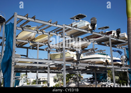 outdoor boat storage racks marina florida usa - Stock Photo
