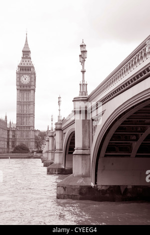 Westminster Bridge and Big Ben, London in Black and White Sepia Tone - Stock Photo