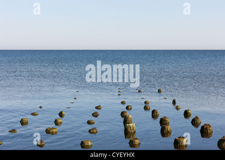 The remains of a wooden pier in the Baltic Sea - Stock Photo