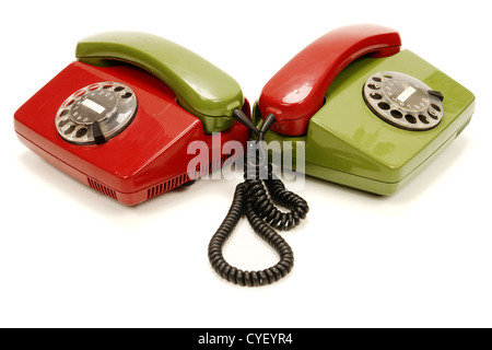 colourful retro phones symbolizing conference/teamwork/network............ - Stock Photo