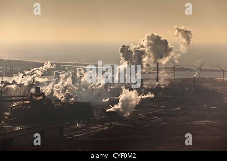 The Netherlands, Ijmuiden, TATA Steel factory. Aerial. - Stock Photo