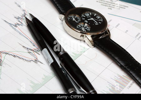Watch and pen on candle stick charts. - Stock Photo