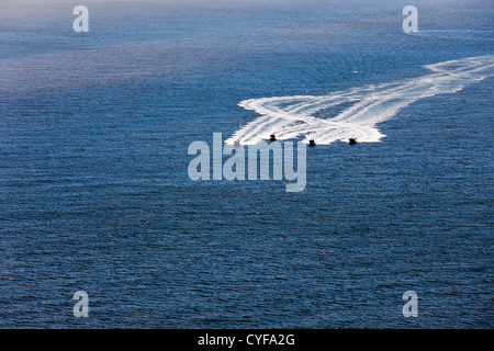 The Netherlands, Zandvoort, Aerial, Boats racing on sea. - Stock Photo