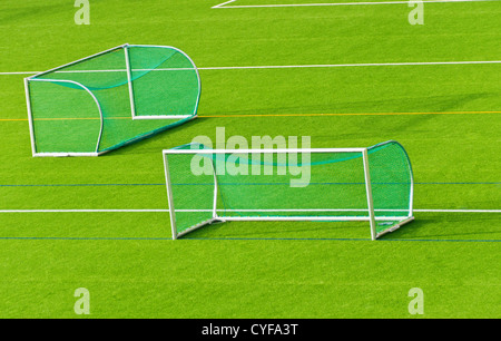 Football goals next to each other  on football field - Stock Photo