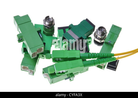 Connectors, optical cables used in data communication networks - Stock Photo