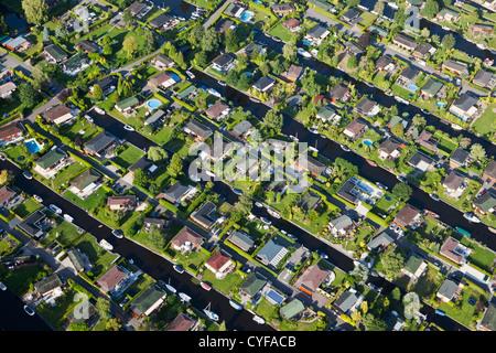 The Netherlands, Loosdrecht, Aerial. Holiday houses near Loosdrecht Lakes. - Stock Photo